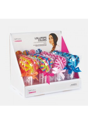 BIFULL EXPOSITOR PIRULETAS DE COLORES LOLLIPOPS COLORS 24 UNIDS