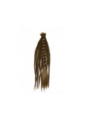 Pelo pluma 40 cm 100% natural - castaño osc.-rubio -