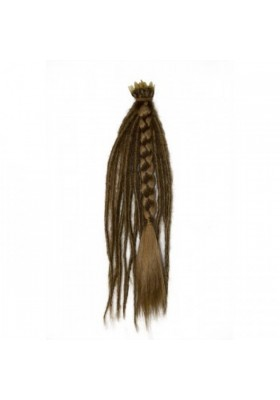 Pelo pluma 40 cm 100% natural - castaño osc.-miel -
